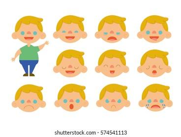 Caucasian little blonde boy feelings set vector