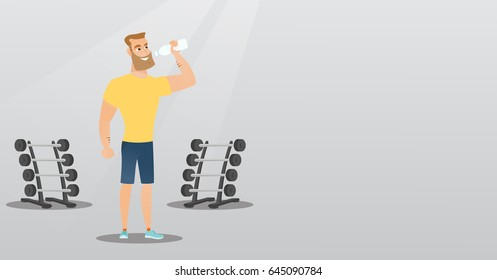 Caucasian man drinking water in the gym. Young hipster man with beard standing with bottle of water. Happy sportsman drinking water from the bottle. Vector flat design illustration. Horizontal layout.