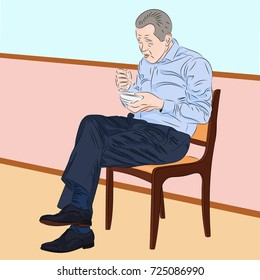 Caucasian man eating instant noodle. Realistic vector illustration