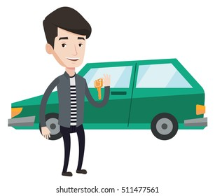 Caucasian man holding keys to his new car. Happy man showing key to his new car. Smiling man standing on the backgrond of his new car. Vector flat design illustration isolated on white background.