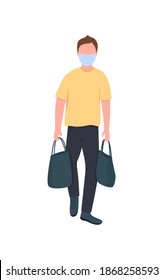 Caucasian man in mask with bags flat color vector faceless character. Courier walk with packets. Shopping during covid lockdown isolated cartoon illustration for web graphic design and animation