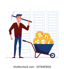Caucasian man with pickaxe and barrow full of crypto coins. Concept of bitcoin mining, blockchain network technology, initial coin offering and cryptocurrency tokens. Vector cartoon illustration.