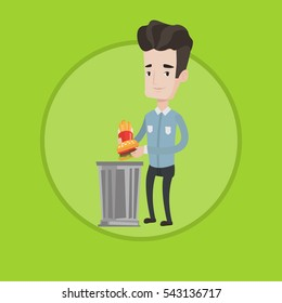 Caucasian man putting junk food into a trash bin. Young man refusing to eat junk food. Man throwing away junk food into trash bin. Vector flat design illustration in the circle isolated on background.