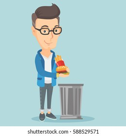 Caucasian man putting junk food into a trash bin. Adult man refusing to eat junk food. Man rejecting junk food. Man throwing junk food. Diet concept. Vector flat design illustration. Square layout.