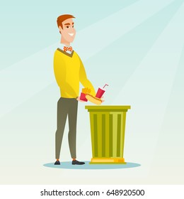 Caucasian man putting junk food into a trash bin. Man refusing to eat junk food. Man rejecting junk food. Man throwing away junk food. Diet concept. Vector flat design illustration. Square layout.