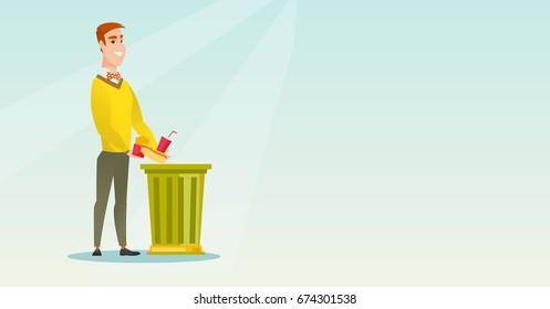 Caucasian man putting junk food into a trash bin. Man refusing to eat junk food. Man rejecting junk food. Man throwing away junk food. Diet concept. Vector flat design illustration. Horizontal layout.