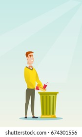 Caucasian man putting junk food into a trash bin. Man refusing to eat junk food. Man rejecting junk food. Man throwing away junk food. Diet concept. Vector flat design illustration. Vertical layout.
