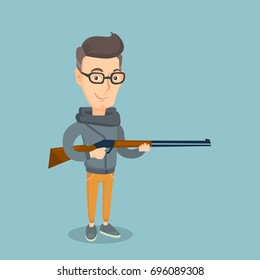 Caucasian man shooting skeet with a shotgun. Adult hunter ready to hunt with a hunting rifle. Hunter holding a long rifle. Vector flat design illustration. Square layout.