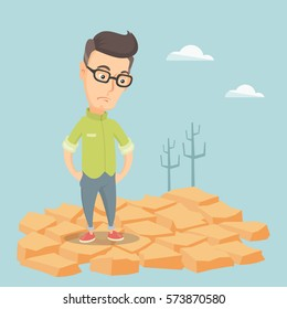 Caucasian man standing in the desert. Frustrated young man standing on cracked earth in the desert. Concept of climate change and global warming. Vector flat design illustration. Square layout.