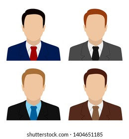 Caucasian man in suit and tie. Set of abstract male avatars. Vector.