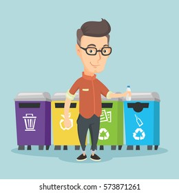 Caucasian man throwing away garbage. Man standing near four bins and throwing away garbage in an appropriate bin. Concept of garbage separation. Vector flat design illustration. Square layout.