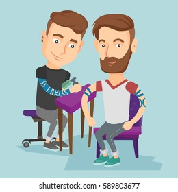 Caucasian master tattoo artist makes tattoo on the hand of young man. Tattooist makes a tattoo to a hipster client. Professional tattoo artist at work. Vector flat design illustration. Square layout.