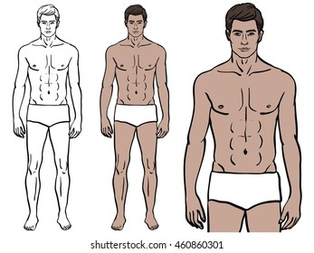 Caucasian Model Man In Underwear Colored Template Fit Fashion Isolated Vector Illustration