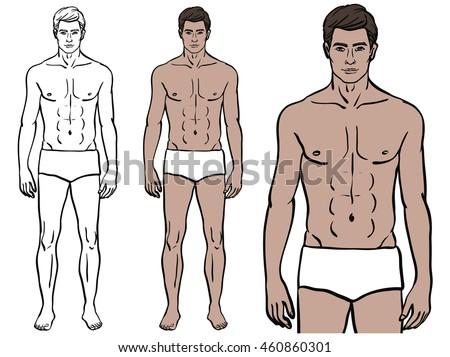 caucasian model man underwear colored template のベクター画像素材