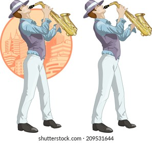 Caucasian musician retro styled cartoon character with colored lineart