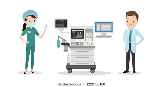 Caucasian Nurse with a syringe and doctor thinks near intensive care unit, medical flat vector illustration
