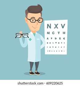 Caucasian ophthalmologist doctor giving glasses. Ophthalmologist holding eyeglasses on the background of eye chart. Ophthalmologist offering glasses. Vector flat design illustration. Square layout.