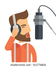 A caucasian radio DJ with headphone and microphone raising his voice. A Contemporary style. Vector flat design illustration isolated white background. Square layout.