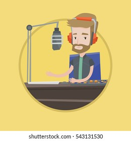 Caucasian radio dj working on mixing console and speaking into a microphone. News presenter in headset working on a radio station. Vector flat design illustration in the circle isolated on background.