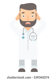 Caucasian scared doctor screaming. Frightened hipster medical doctor with stethoscope. Scared doctor in white coat clutching his head. Vector flat design illustration isolated on white background.