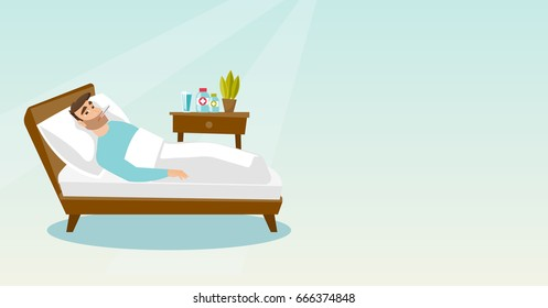 Caucasian sick man laying in bed with fever. Sick man measuring temperature with a thermometer in mouth. Sick man suffering from cold or flu virus. Vector flat design illustration. Horizontal layout.