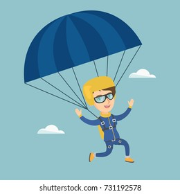 Caucasian skydiver flying with a parachute. Young happy skydiver descending with a parachute in the sky. Sport and leisure activity concept. Vector cartoon illustration. Square layout.