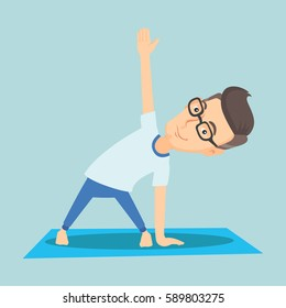 Caucasian sportsman meditating in yoga triangle position. Cheerful sportsman standing in yoga triangle pose. Sporty man doing yoga on the mat. Vector flat design illustration. Square layout.