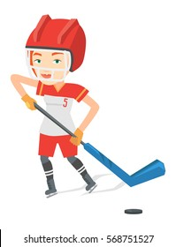 Caucasian sportswoman playing ice hockey. Ice hockey player in uniform skating on a rink. Female ice hockey player with a stick and puck. Vector flat design illustration isolated on white background.