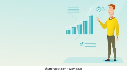 Caucasian successful businessman pointing at chart going up. Cheerful smiling businessman satisfied by business success. Business success concept. Vector flat design illustration. Horizontal layout.