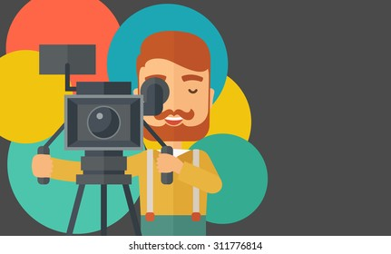 A caucasian videographer taking a video. A contemporary style with pastel palette black tinted and colorful round background. Vector flat design illustration. Horizontal layout with text space in