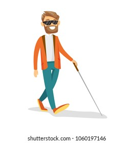 Caucasian white blind businessman strolling with a walking stick. Young blind man in dark glasses walking with a cane. Disability concept. Vector cartoon illustration isolated on white background.