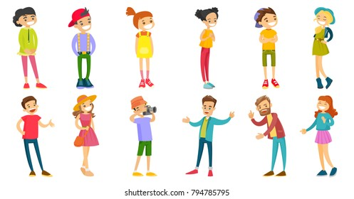 Caucasian white children and adults set. Man yelling and shaking finger, boy taking picture with photo camera, cheerful boys and girls. Set of vector cartoon illustrations isolated on white background