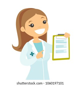 Caucasian white doctor showing a clipboard with patient records. Doctor in medical gown holding a clipboard with prescription. Vector cartoon illustration isolated on white background. Square layout.