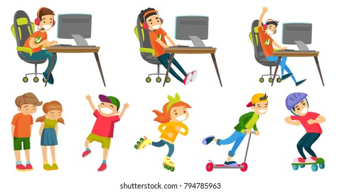 Caucasian white girls and boys set. Teenage kids playing video game on a computer, riding a skateboard, kick scooter, roller skates. Set of vector cartoon illustrations isolated on white background.