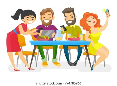 Caucasian white group of young friends sitting together at the table with smartphones and tablet computer. Friends with electronic gadgets hanging out together. Vector isolated cartoon illustration.