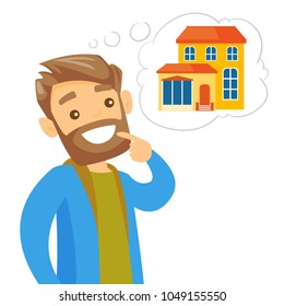 Caucasian white man dreaming about buying property. Man planning his future purchase of a house. Real property buying concept. Vector cartoon illustration isolated on white background. Square layout.