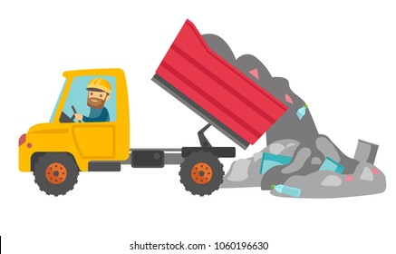 Caucasian white man driving a garbage truck and unloading waste on a rubbish dump. Worker dumping the rubbish on a landfill. Vector cartoon illustration isolated on white background. Horizontal layout