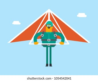 Caucasian white man flying on hang-glider. Sportsman taking part in hang gliding competitions. Man having fun while gliding on delta plane in the sky. Vector cartoon illustration. Horizontal layout.