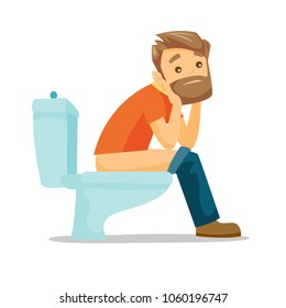 Caucasian white man sitting on the toilet bowl and suffering from constipation. Young hipster man suffering from diarrhea. Vector cartoon illustration isolated on white background. Square layout.