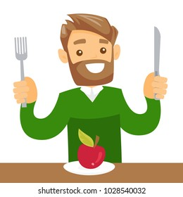 Caucasian white man sitting at the table with fork and knife and getting ready to cut an apple. Concept of healthy nutrition. Vector cartoon illustration isolated on white background. Square layout.