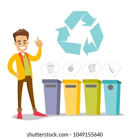 Caucasian white man standing next to the four garbage bins for paper, glass, mixed and food waste. Concept of garbage separation, environmental protection and recycling. Vector cartoon illustration.