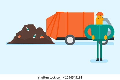 Caucasian white man standing on the background of garbage truck unloading waste on a rubbish dump. Worker dumping the rubbish on a landfill. Vector cartoon illustration. Horizontal layout.