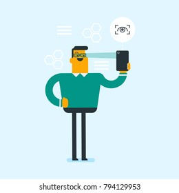 Caucasian white man using a smart mobile phone with retina scanner. Young happy man using iris scanner to unlock his mobile phone. Vector cartoon illustration. Square layout.