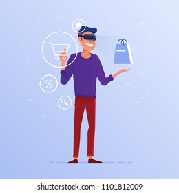 A caucasian white man in VR headset with virtual hud interface elements symbolizing online shopping. Concept of e-commerce operated by virtual reality tools. Vector flat design illustration.