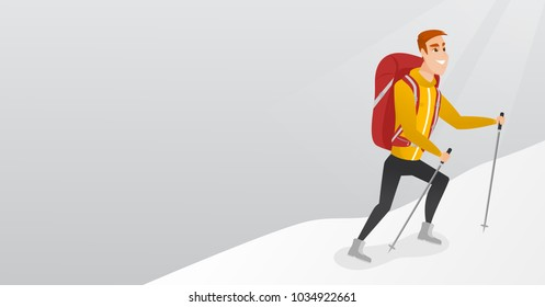 Caucasian white mountaineer climbing a ridge with help of hiking poles. Young mountaineer with a backpack and trekking poles walking up along a ridge. Vector cartoon illustration. Horizontal layout.