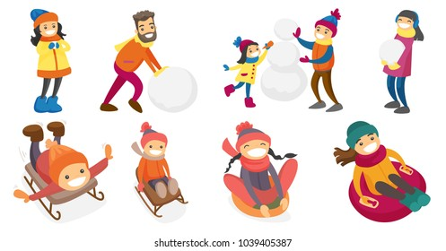 Caucasian white people playing in snow set. Kids and adults building a snowman, enjoying a sleigh ride, sledding down on rubber tube. Set of vector cartoon illustrations isolated on white background.