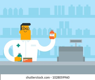 Caucasian white pharmacist in medical gown standing behind the counter in the pharmacy and showing some medicine. Pharmacist holding a vial with tablets. Vector cartoon illustration. Square layout.