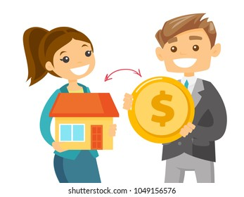 Caucasian white real estate agent exchanging a house to a dollar coin of a client. Conclusion of real estate deal between realtor and buyer. Vector cartoon illustration isolated on white background.
