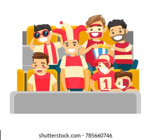 Caucasian white sport supporters sitting at the stadium at a sporting event. Crowd of spectators watching game at the stadium. Vector cartoon illustration isolated on white background. Square layout.