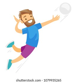 Caucasian white sportsman playing volleyball. Male professional volleyball player hitting the ball. Concept of sport and physical activity. Vector cartoon illustration isolated on white background.